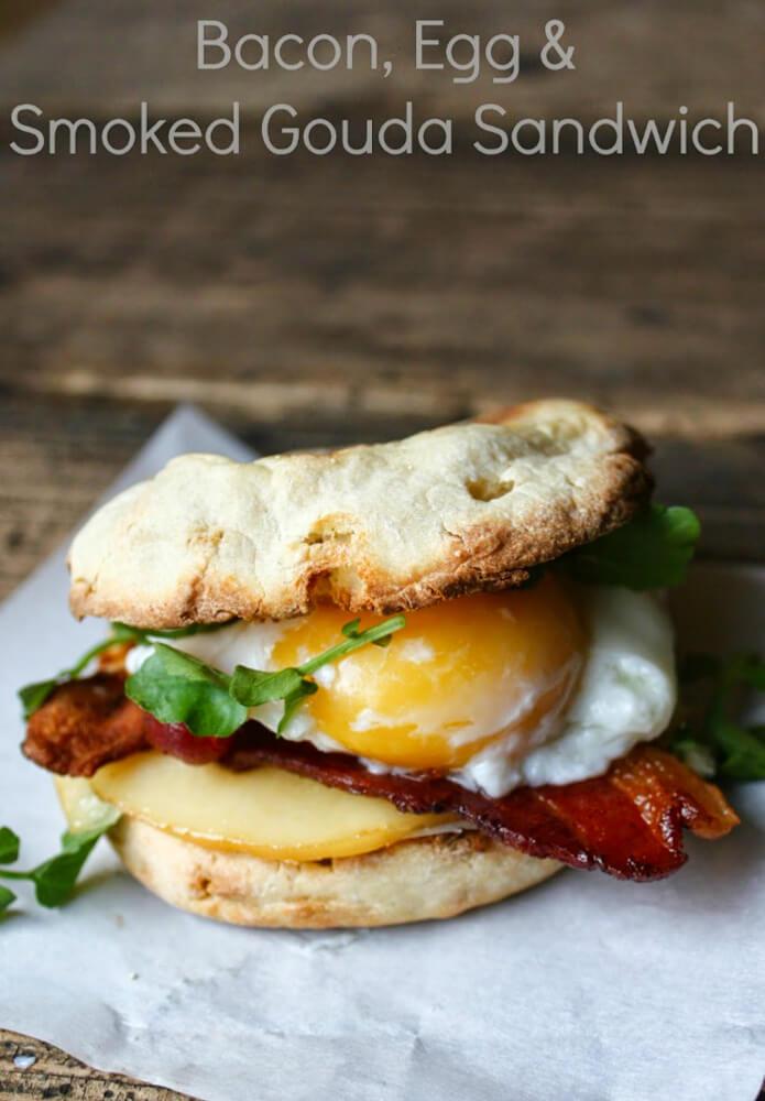 Bacon, Egg and Smoked Gouda English Muffin Breakfast Sandwich