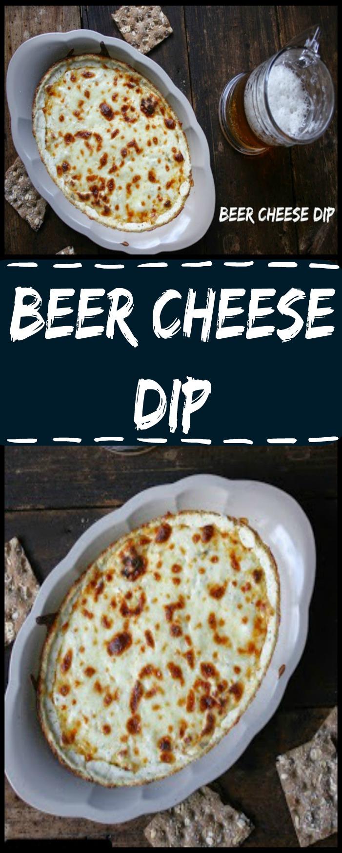 Hot bubbly Beer Cheese Dip made with 3 cheese, garlic, Dijon mustard and beer!
