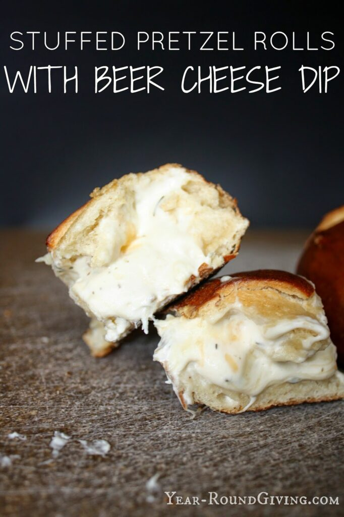 Beer Cheese Dip Stuffed Pretzel Buns 1
