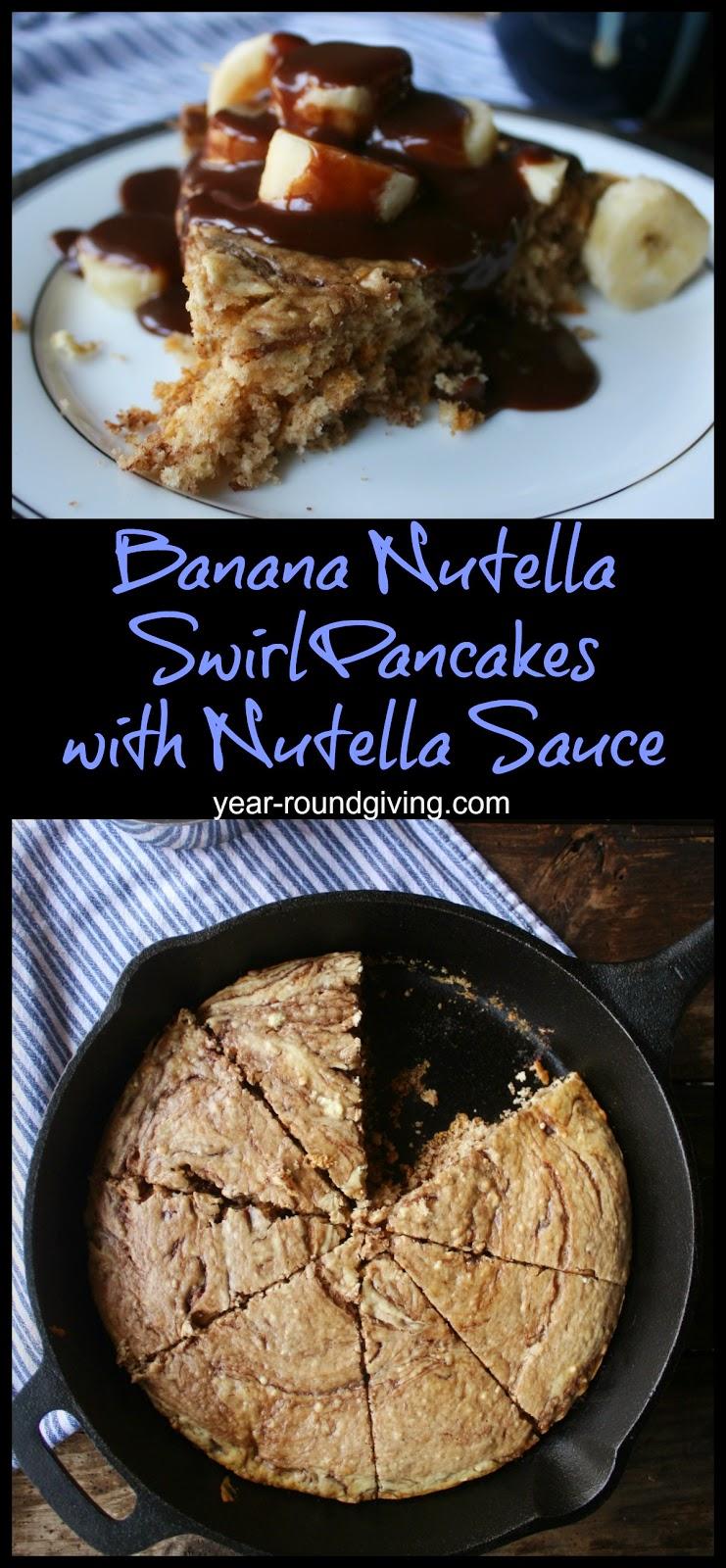 Banana Nutella Swirl Skillet Cake with Nutella Sauce