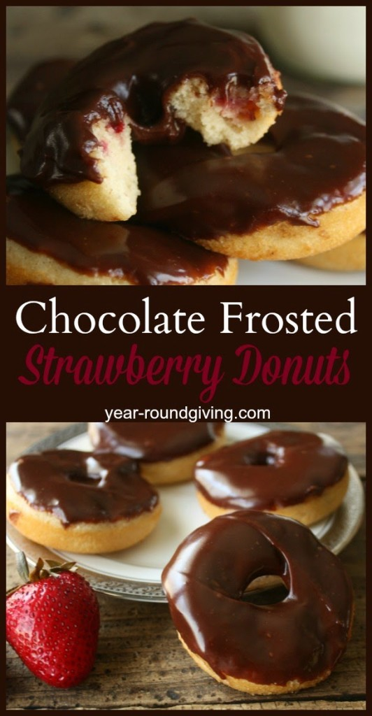 Chocolate Frosted Baked Strawberry Donuts