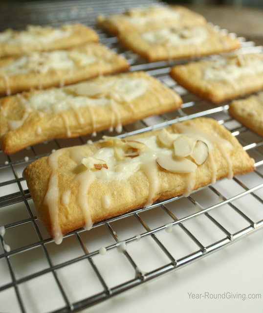 Almond Croissant Pastries. Made with Crescent Rolls.