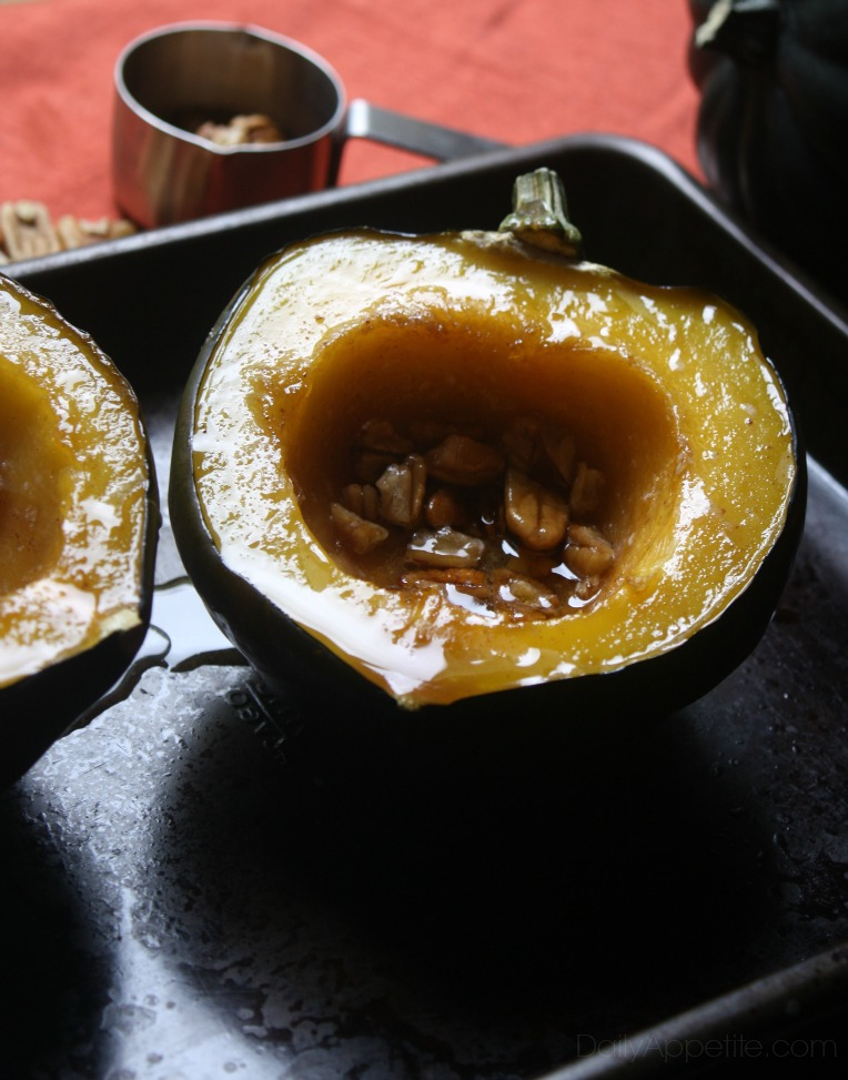 Baked Acorn Squash with butter, brown sugar and pecans