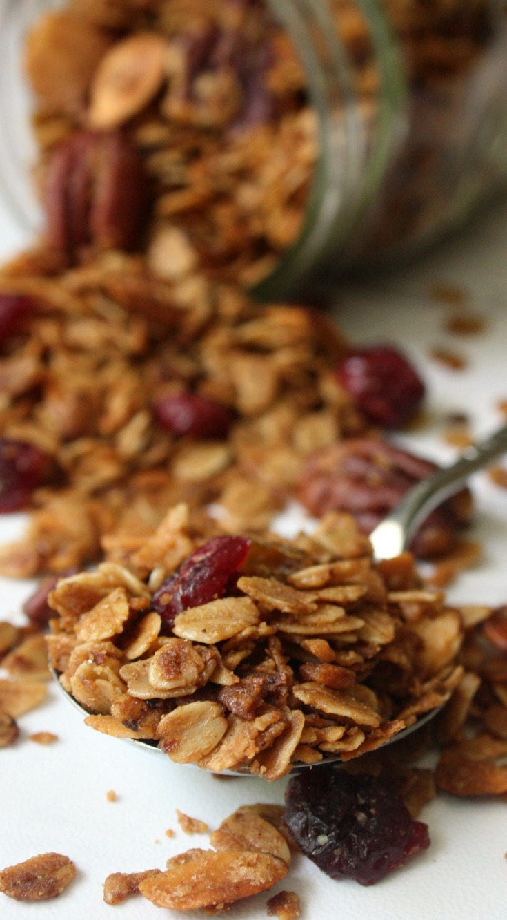 Homemade Cinnamon Pecan Raisin Granola Recipe from scratch. Make a big batch to serve for breakfast or over vanilla ice cream.