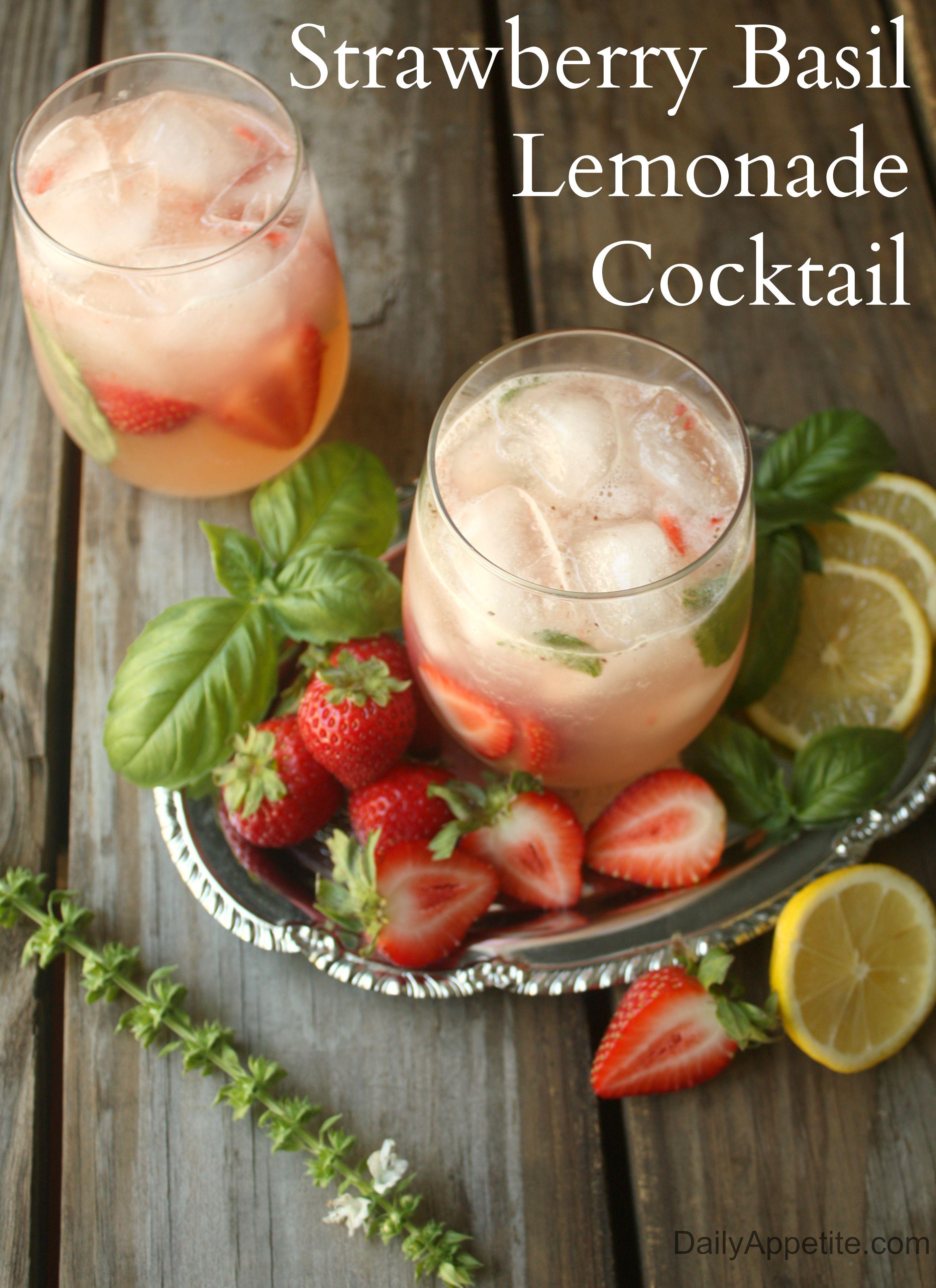 Strawberry Basil Lemondae Cocktail made with Citron