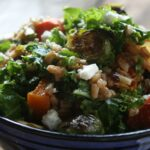 Kale and Farro Salad with Roasted Vegetables and Feta Cheese 1