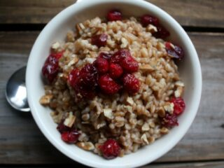 Roasted Cranberry Maple and Brown Sugar Farro Breakfast with Chopped Pecans