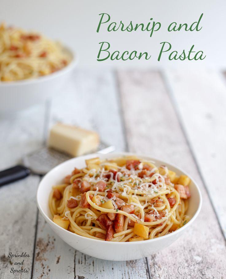 Parsnip & Bacon Pasta plus 60+ Parsnip Recipes
