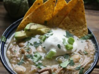 Salsa Verde Shredded Pork Soup with Cannellini Beans