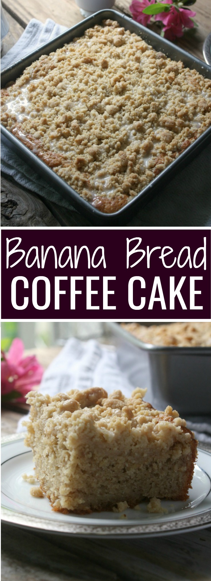 Banana Bread Coffee Cake with a streusal topping and icing drizzle.