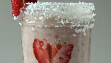 Strawberry Oat Coconut Smoothie. Made with coconut milk. Strawberries and coconut is such a tasty combination of flavors.