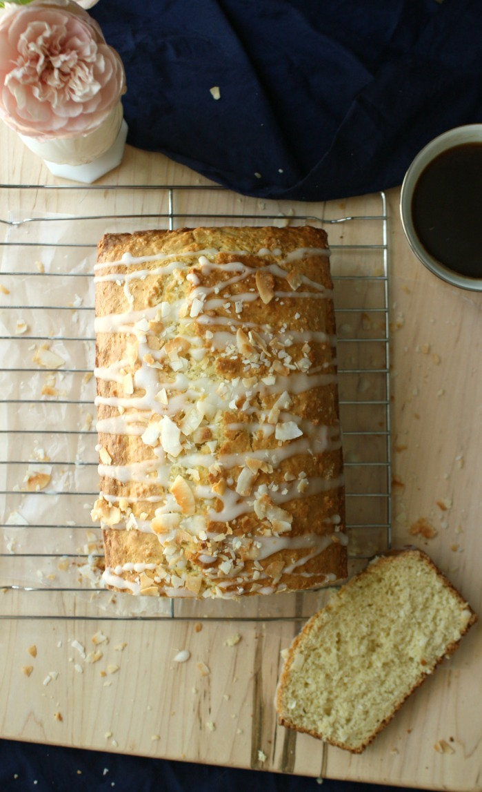 Coconut Almond Tea Loaf Cake. Perfect with your morning cup of coffee or afternoon tea.