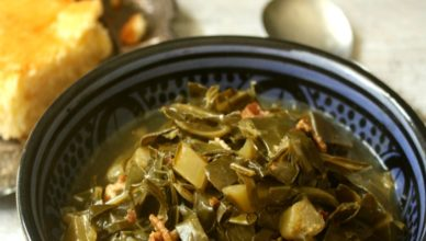 Spicy Collard Greens with Bacon recipe. A Southern comfort food recipe.