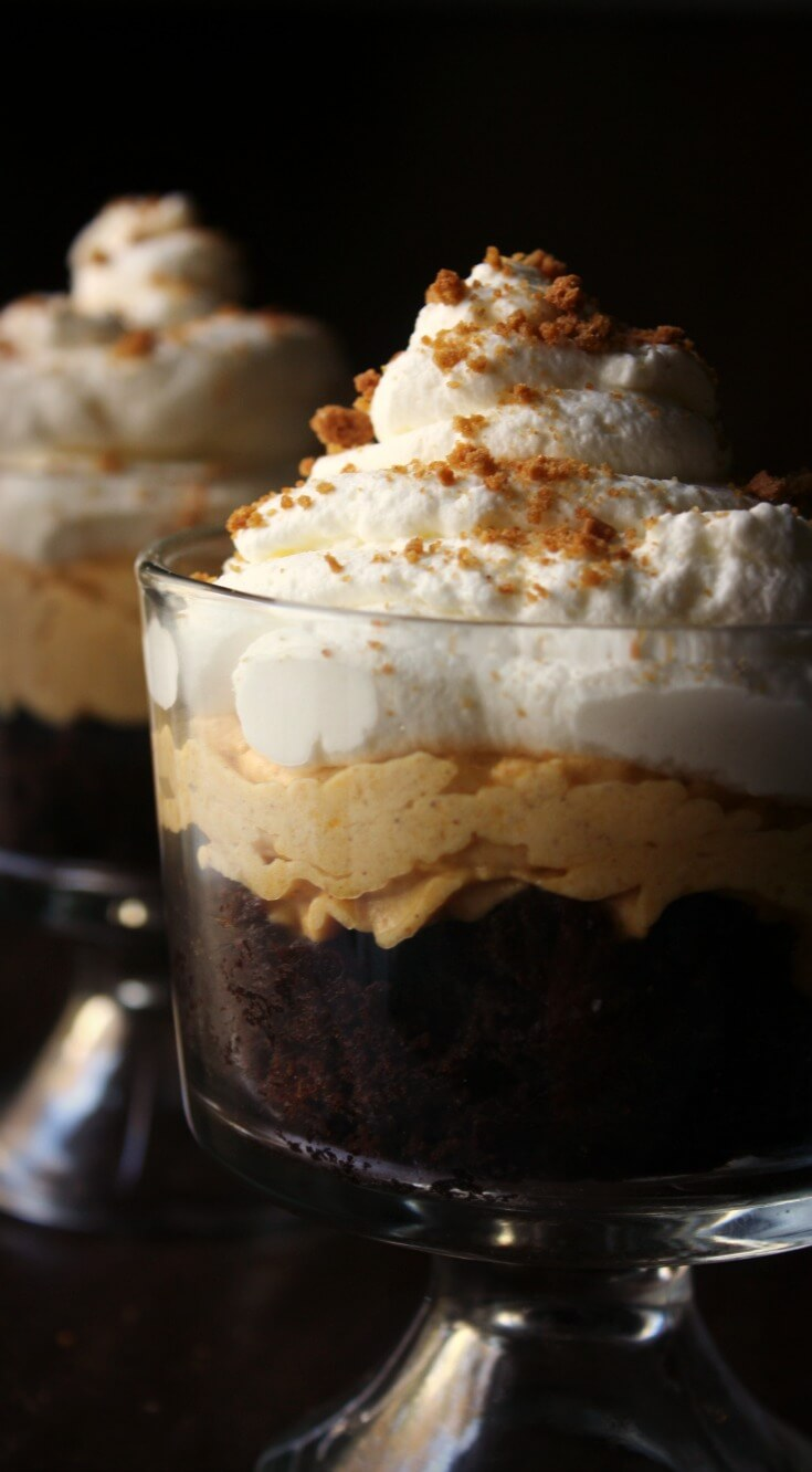 This Brownie Pumpkin Cheesecake Trifle dessert is where chocolate meets pumpkin in a layered decadent Fall dessert. Layers of moist fudgy brownies, fresh whipped cream, and pumpkin cheesecake with a ginger snap crumbs to top it all off.