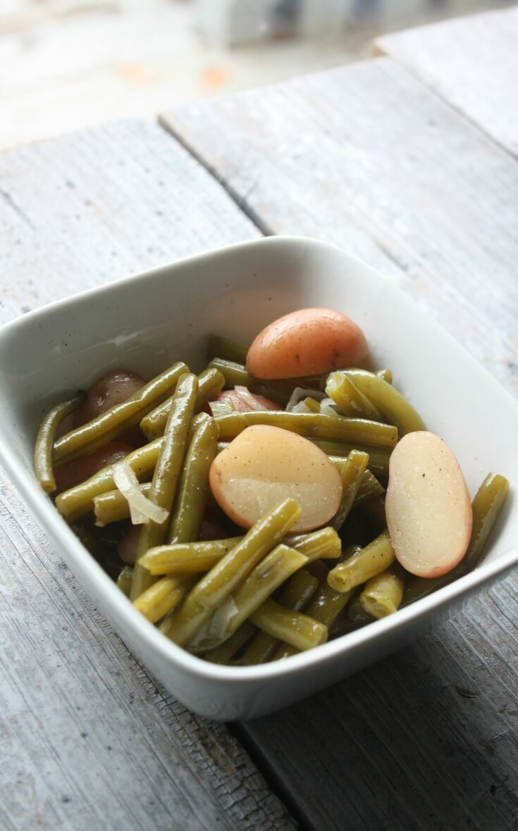 Slow Cooker Green Beans and Potatoes Recipe. Slow Cooker Green Beans and Potatoes recipe. Vegetables that cook all afternoon until they are hot, tender and full of comforting flavor.