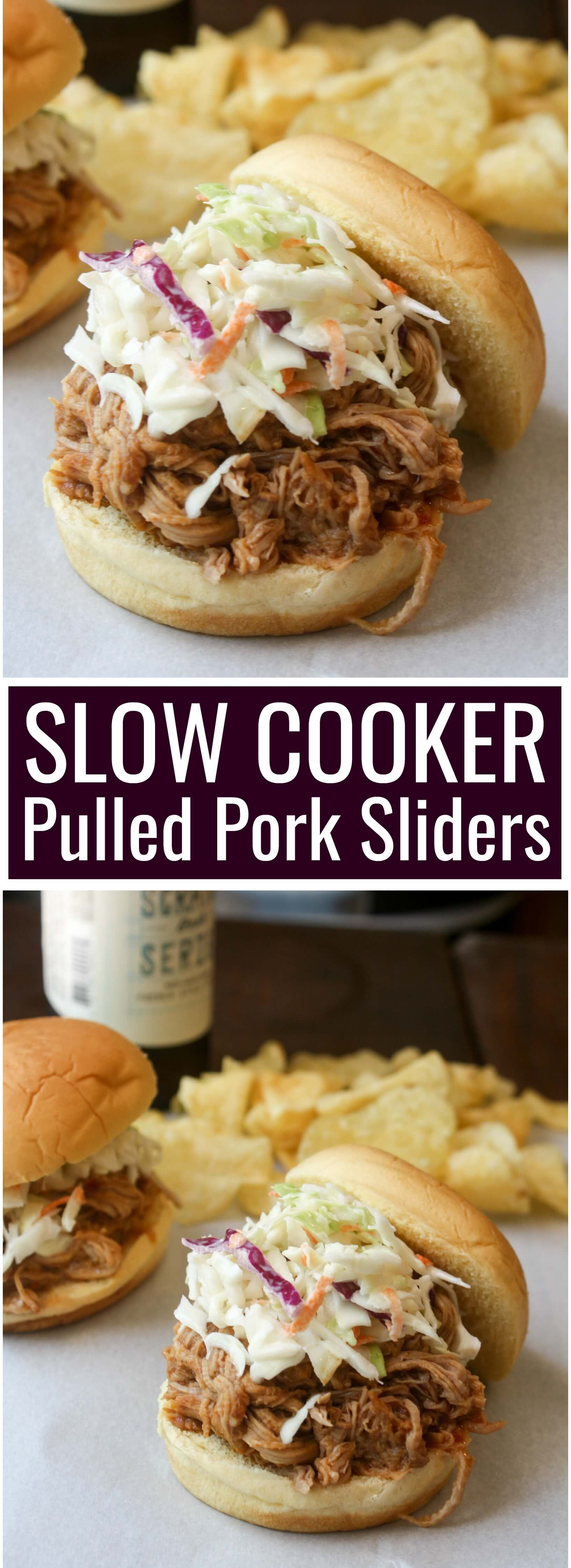 Slow Cooker BBQ Pulled Pork Sandwiches slow cooked for 4 hours in your favorite BBQ sauce and piled high with sweet tangy coleslaw.