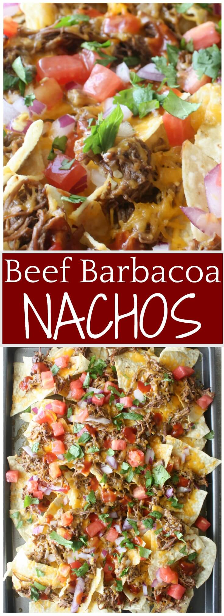 Barbacoa Beef Nachos recipe. Toasted chips with layers of slow cooker beef barbacoa, melted cheese and loaded with flavorful toppings. Gather around this tray of Barbacoa Beef Nachos for a crowd pleasing appetizer or meal