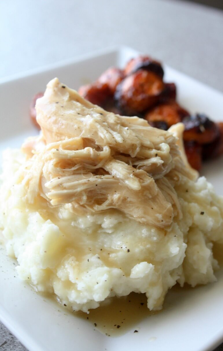 Crock Pot Chicken and Gravy Recipe. Serve this tender chicken and gravy over a heaping scoop of buttery mashed potatoes.