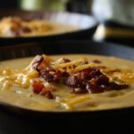 Cheddar Broccoli Potato Soup with Bacon Crumbles and Shredded Cheddar Cheese