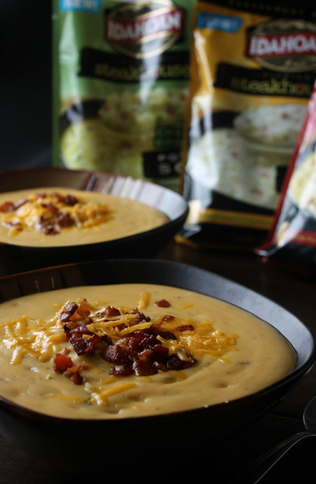 Cheddar Broccoli Potato Soup with Bacon Crumbles