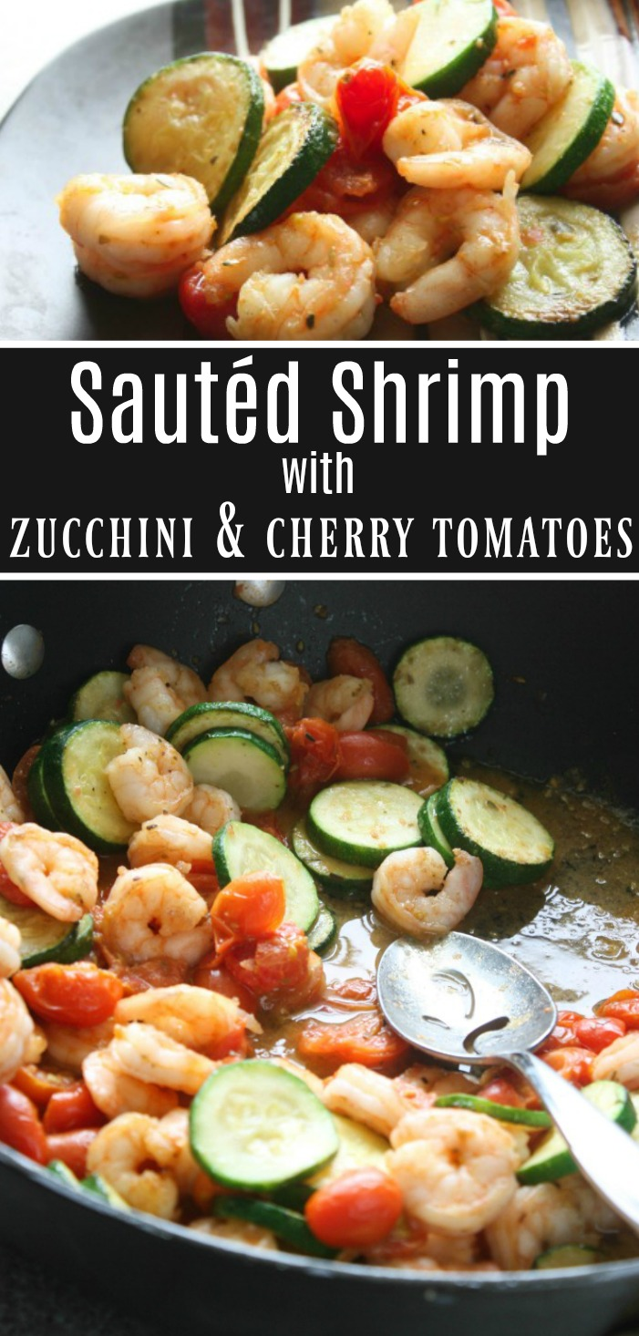 Sauted Shrimp with Zucchini and Cherry Tomatoes. Light dinner or lunch recipe. Weight Waters Points 1 per serving.