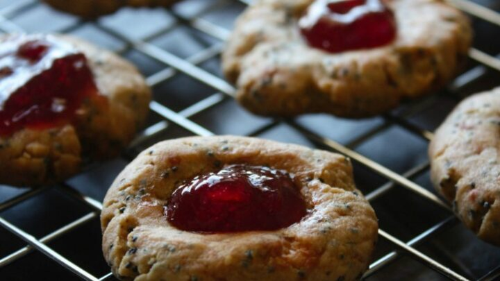 Blue Cheese Cookies. These are just like cheese straws but made with Blue Cheese and shaped like a thumbprint cookie. Fill with cherry, strawberry or fig preserves.