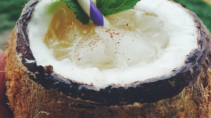 Tropical Coconut Rum Cocktail in a Coconut Shell.