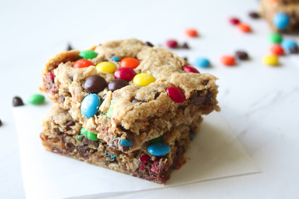 Flourless Monster Cookie Bars Recipe