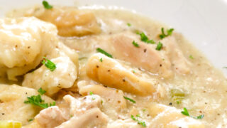Crock Pot Chicken and Dumplings with Canned Biscuits