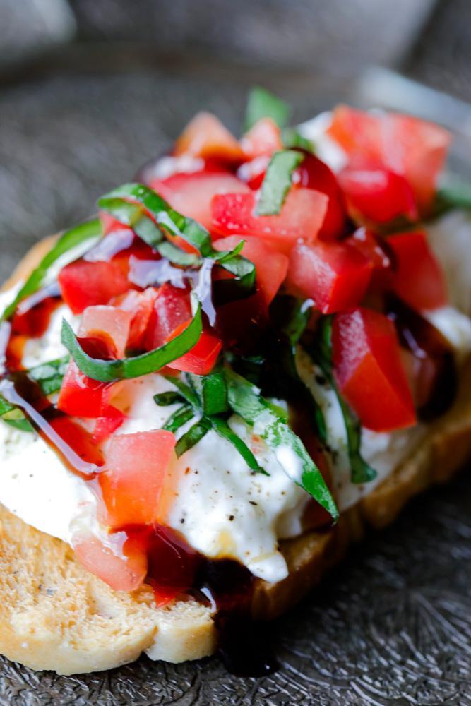 Burrata Caprese Crostini Appetizer