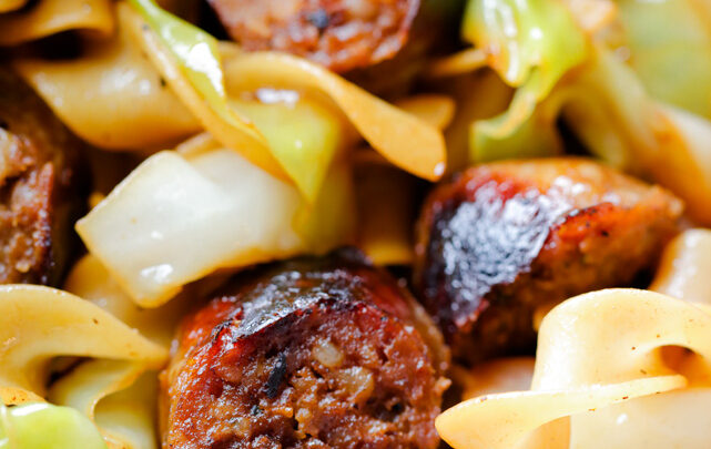 Cabbage and Noodles with Sweet Italian Sausage